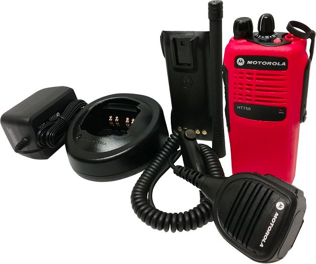 Motorola HT750 VHF Two Way Radio 16-Channel 136-174 MHz Red