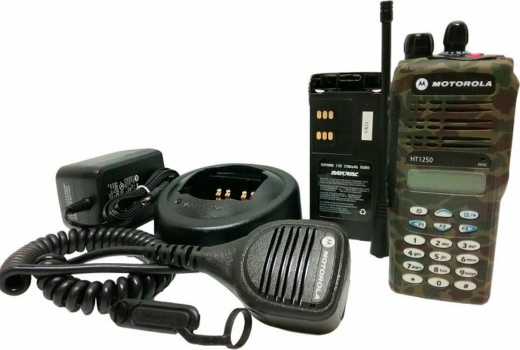 Motorola HT1250 Model III UHF Camo Two Way Radio 403-470 MHz MDC - Click Image to Close